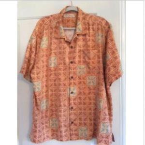 Tommy Bahama 100% Silk Shirt w PalmLeaf printSz XL